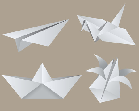 Origami: aircraft, crane, boat, tulip. Isolated.