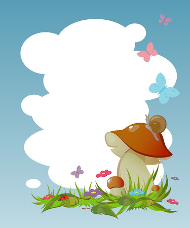 edible mushroom: Background for your text with the natural theme. Illustration