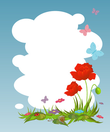 Background for your text with red poppies. EPS 8 Vector