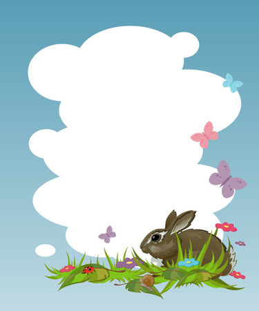Background with a rabbit on the lawn. EPS 8 Vector
