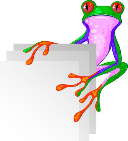 blue frog: Rana arbor�cola de la esquina. Aislado. Vectores