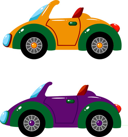 purple car: Two vector cars over white.