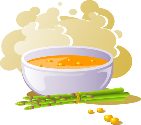 soup bowl: Bowl of corn soup. Over white.  Illustration