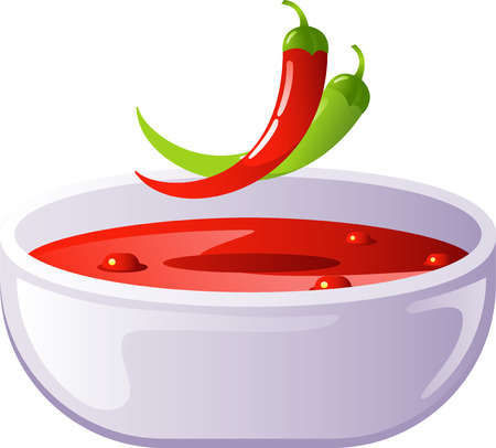 cayenne: Spicy chili soup Illustration