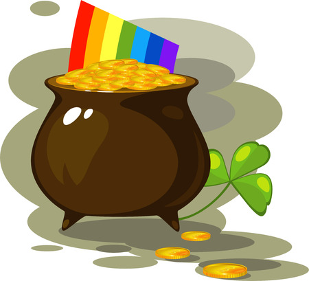 Illustration on the day of St. Patrick: pot of coins, a rainbow and clover. EPS 8 Vector