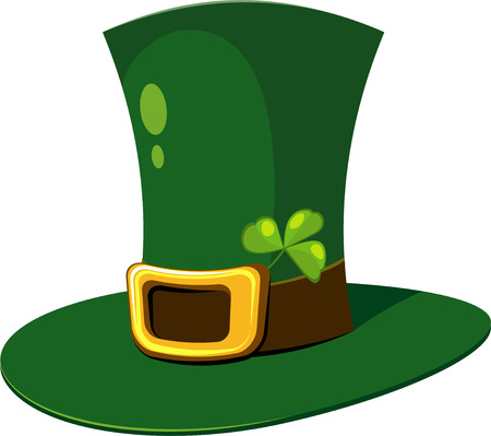 Leprechaun Hat with clover over white. EPS 8 Vector