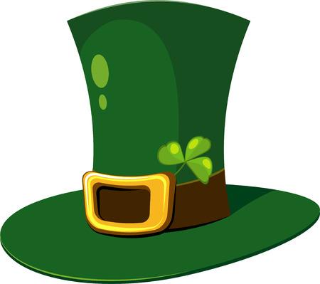 Leprechaun Hat with clover over white. EPS 8 Stock Vector - 6419063