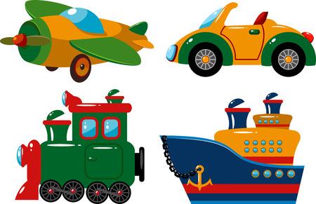 tren caricatura: Conjunto de vehículos: avión, coche, tren y barco. Vectores
