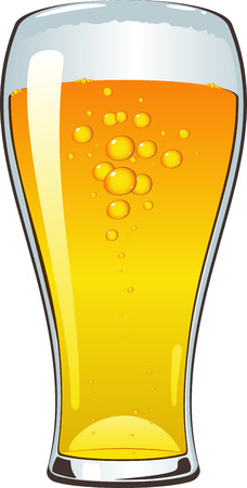 beers: Beer glass over white.  Illustration