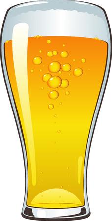 beer pint: Vaso de cerveza sobre blanco.