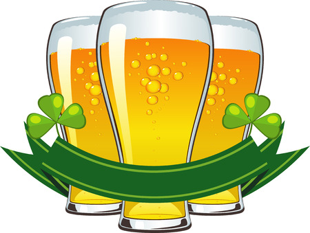 St. Patrick's Day: beer, clover and banner. Stock Vector - 6459887