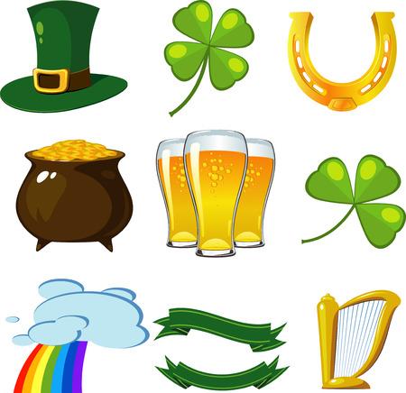 Conjunto de día de San Patricio: sombrero leprechaun, tréboles de cuatro hojas, herradura dorada, bote de monedas, cerveza, trébol trifoliada, arco iris, pancartas, arpa.