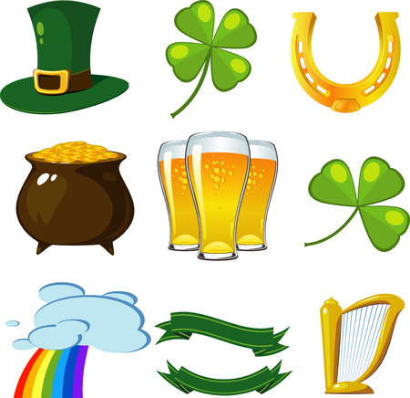 St. Patricks Day set: leprechaun hat, four-leaf clovers, golden horseshoe, pot of coins, beer, trifoliate clover, rainbow, banners, harp. Vector
