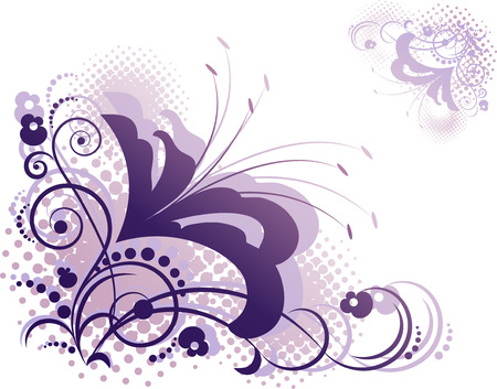 Floral design element over white Vector