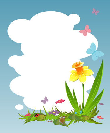 Background for your text with daffodil Vector
