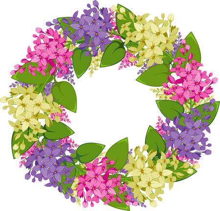 mazzo di fiori: corona di ramoscelli di Lilla  Vettoriali