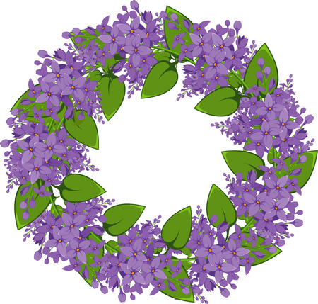 lilac flower: wreath of twigs of lilac