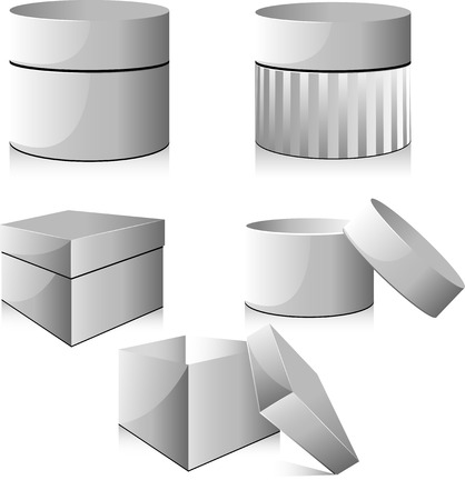 Collection of white boxes Stock Vector - 6677850