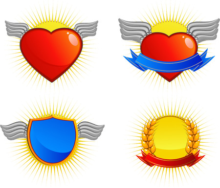 Collection of four vector logos. Over white. EPS 8 Vector