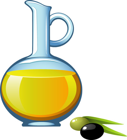 eps 8: Olive oil in a glass jar. EPS 8 Illustration