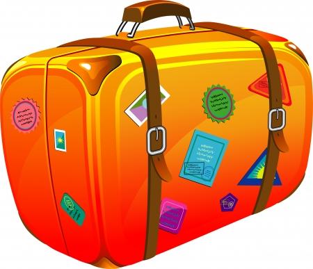 Maleta de viaje con pegatinas. EPS 8