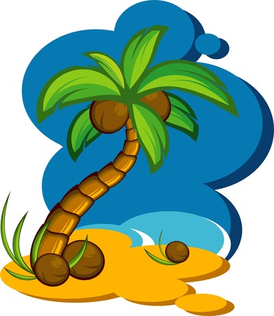 coconut palm: illustration with a coconut palm. Eps 8 Illustration