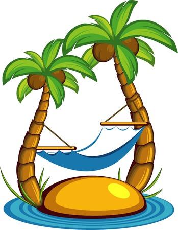 hamaca: Ilustraci�n de la isla con palmeras y una hamaca. Sobre blanco. EPS 8
