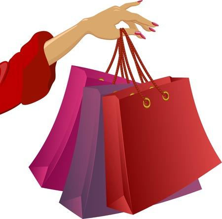 hand bag: De compras: la mano de la mujer con bolsas. Ilustraci�n vectorial sobre fondo blanco.