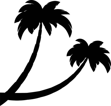 Silhouette of two palms. Isolated on white. EPS 8