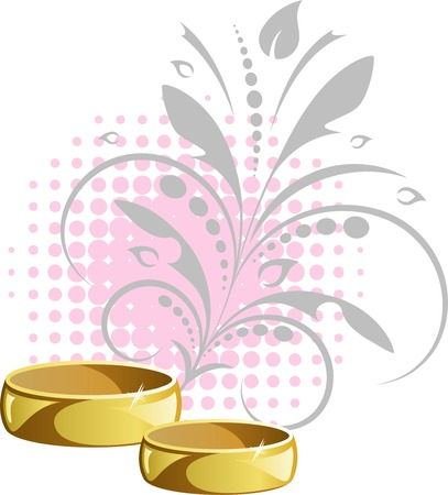 Wedding rings on floral background Stock Vector - 7068328