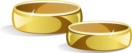 Wedding rings over white Stock Vector - 7068327