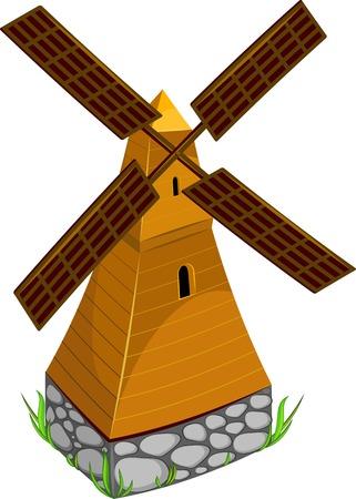 hoog gras: Beeld de molen, wit.  Stock Illustratie
