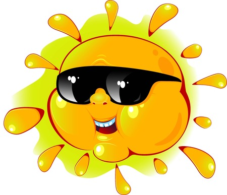 Cartoon sun in a sunglasses over white. Vector