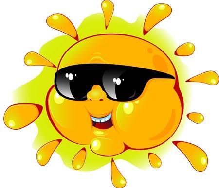 Cartoon sun in a sunglasses over white. Vector