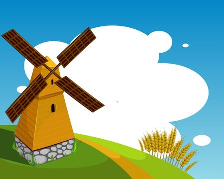 Vector Background with windmill Vector