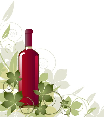 purple grapes: Floral background with a bottle of wine. EPS 8 Illustration