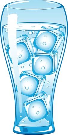purified water: Vaso de agua y hielo. Ilustraci�n en blanco.