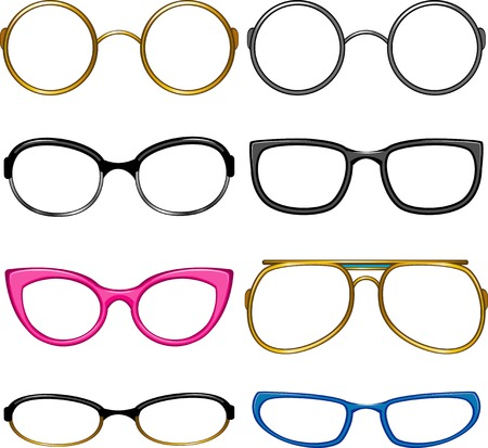optical glass: Collection glasses for every taste!. Simply dress them on the nose! EPS 8