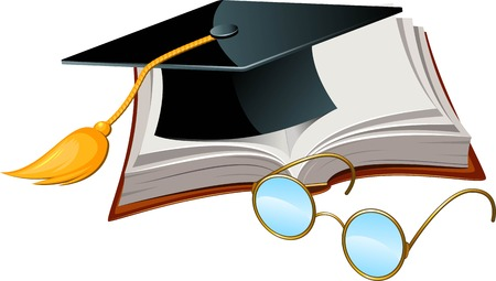 personal accessory: Graduation cap, book and glasses. Illustration