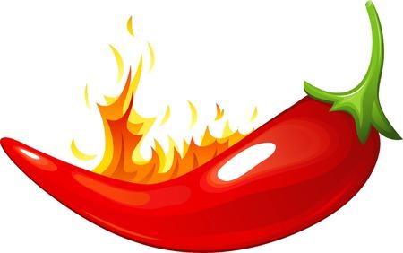 Red hot pepper over white. EPS 8 Stock Vector - 7466906