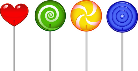 Four candy lollipop isolated on white Vector