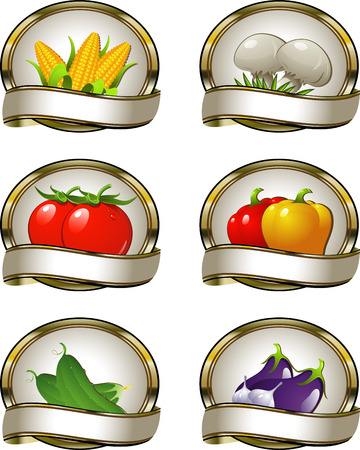 condiment: Labels for vegetable products. Over white