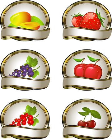 レッドカラント: 果実製品のラベルのコレクション: マンゴー、イチゴ、黒スグリの実、赤スグリ、リンゴ、チェリー。EPS 8