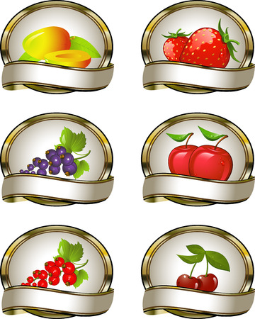 The collection of labels for fruit products: mango, strawberry, black currant, red currant, apple, cherry. EPS 8 Ilustracja