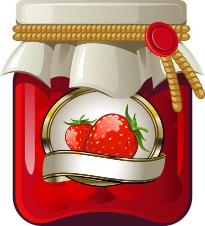 Bank of strawberry jam over white. EPS 8 Vector