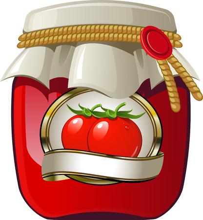 Jarra de tomate en blanco. EPS 8  Ilustración de vector