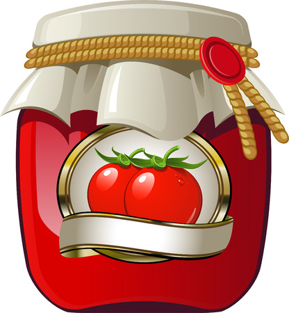 흰색 위에 토마토 항아리. EPS 8
