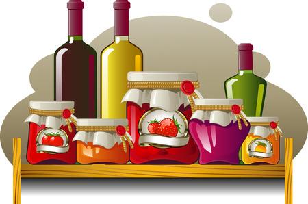 grocery shelves: Shelves of bottles and cans over white. EPS 8 Illustration
