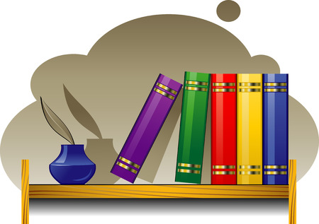 Bookshelf with books and inkwell Vector