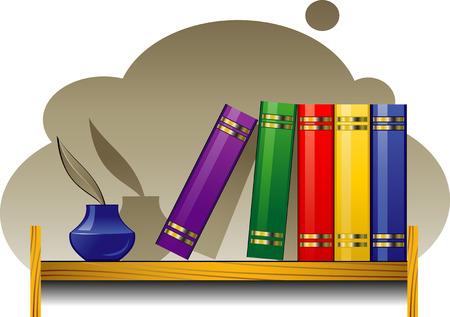 wood shelf: Bookshelf with books and inkwell Illustration
